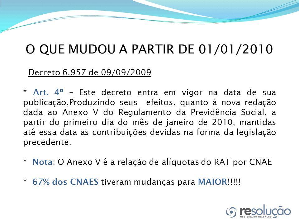 O QUE MUDOU A PARTIR DE 01/01/2010 Decreto 6.957 de 09/09/2009 * Art.