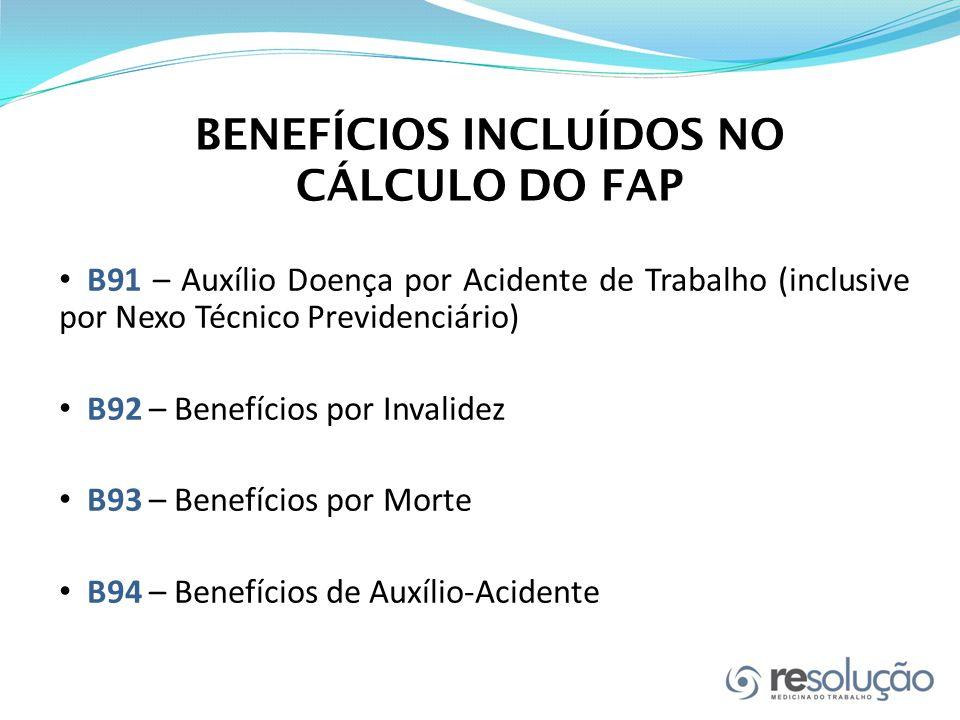 BENEFÍCIOS INCLUÍDOS NO CÁLCULO DO FAP B91 – Auxílio Doença por Acidente de Trabalho (inclusive por Nexo Técnico Previdenciário) B92 – Benefícios por Invalidez B93 – Benefícios por Morte B94 – Benefícios de Auxílio-Acidente