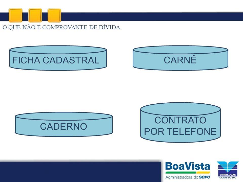 O QUE NÃO É COMPROVANTE DE DÍVIDA CONTRATO POR TELEFONE CADERNO CARNÊ FICHA CADASTRAL