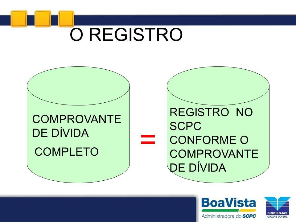 O REGISTRO COMPROVANTE DE DÍVIDA COMPLETO REGISTRO NO SCPC CONFORME O COMPROVANTE DE DÍVIDA =