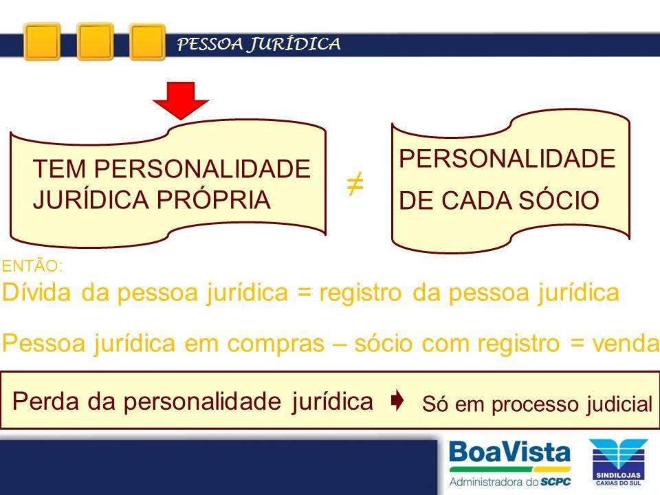PESSOA JURÍDICA ENTÃO: Dívida da pessoa jurídica = registro da pessoa jurídica Pessoa jurídica em compras – sócio com registro = venda TEM PERSONALIDA