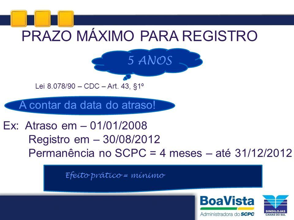 PRAZO MÁXIMO PARA REGISTRO Lei 8.078/90 – CDC – Art. 43, §1º Ex: Atraso em – 01/01/2008 Registro em – 30/08/2012 Permanência no SCPC = 4 meses – até 3