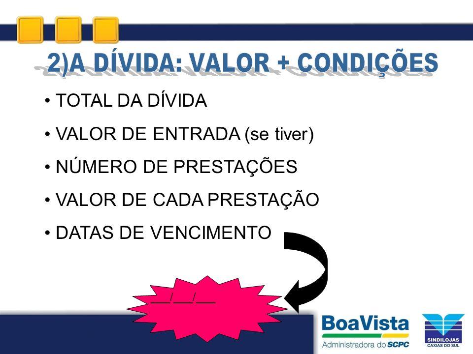 TOTAL DA DÍVIDA VALOR DE ENTRADA (se tiver) NÚMERO DE PRESTAÇÕES VALOR DE CADA PRESTAÇÃO DATAS DE VENCIMENTO ___/___/___