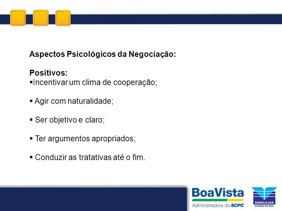 Aspectos Psicológicos da Negociação: Positivos: Incentivar um clima de cooperação; Agir com naturalidade; Ser objetivo e claro; Ter argumentos apropri