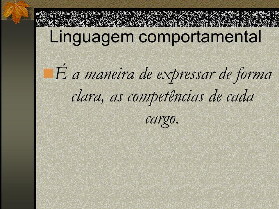 Linguagem comportamental É a maneira de expressar de forma clara, as competências de cada cargo.