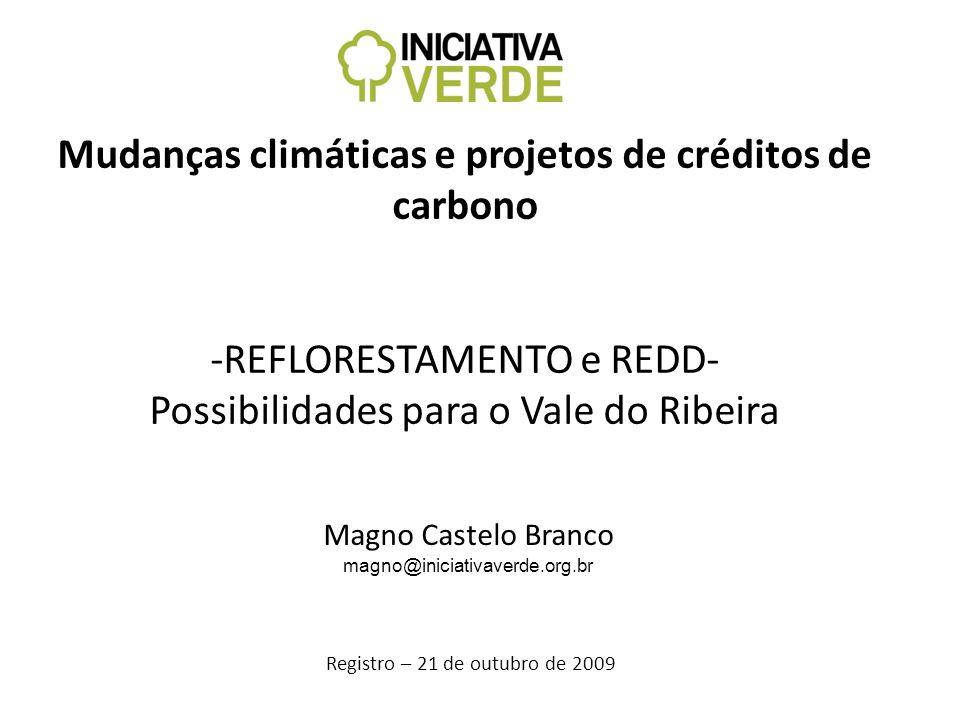 Mudanças climáticas e projetos de créditos de carbono -REFLORESTAMENTO e REDD- Possibilidades para o Vale do Ribeira Registro – 21 de outubro de 2009