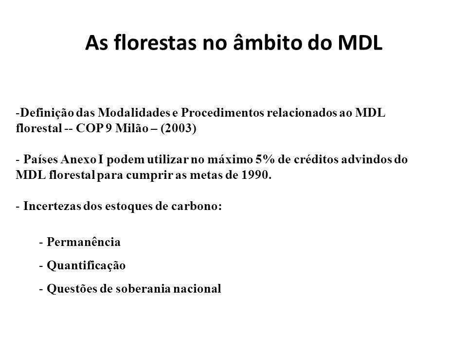 As florestas no âmbito do MDL -Definição das Modalidades e Procedimentos relacionados ao MDL florestal -- COP 9 Milão – (2003) - Países Anexo I podem