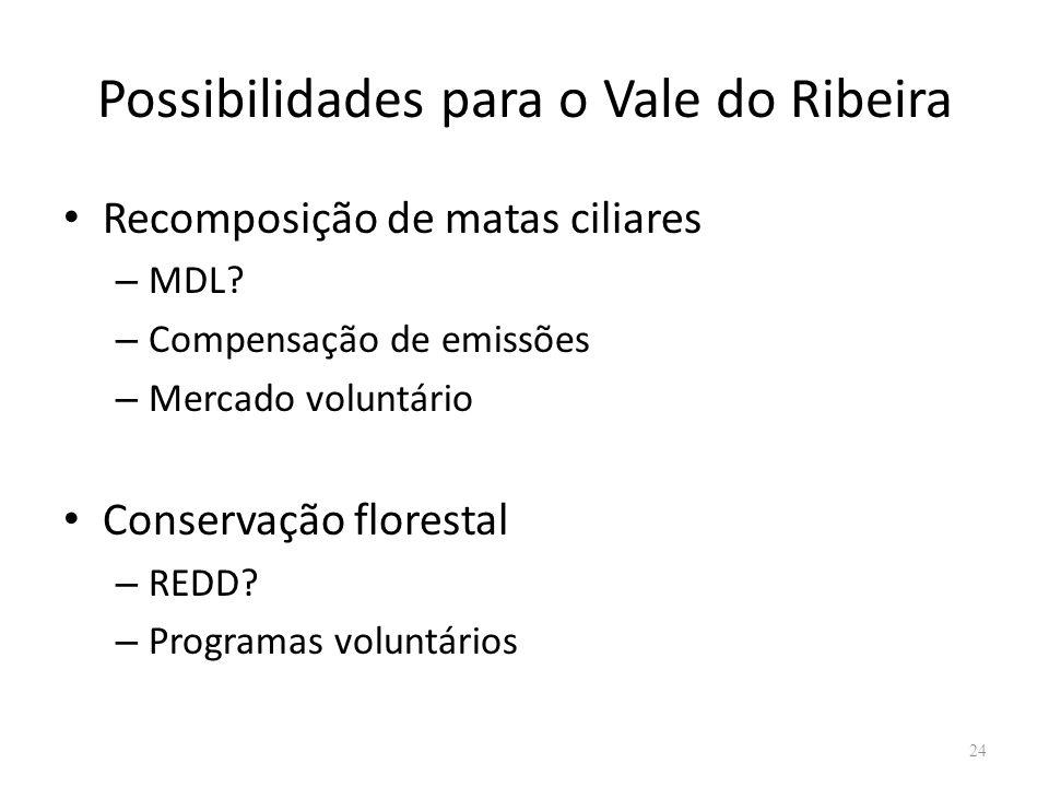 Possibilidades para o Vale do Ribeira Recomposição de matas ciliares – MDL? – Compensação de emissões – Mercado voluntário Conservação florestal – RED