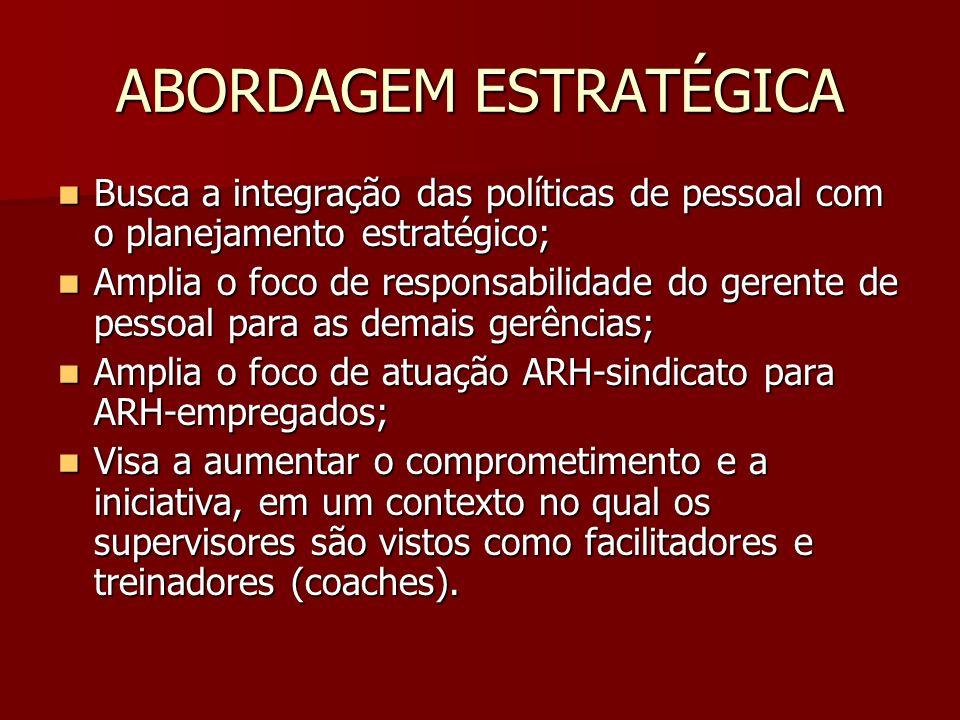 ABORDAGEM ESTRATÉGICA Busca a integração das políticas de pessoal com o planejamento estratégico; Busca a integração das políticas de pessoal com o pl