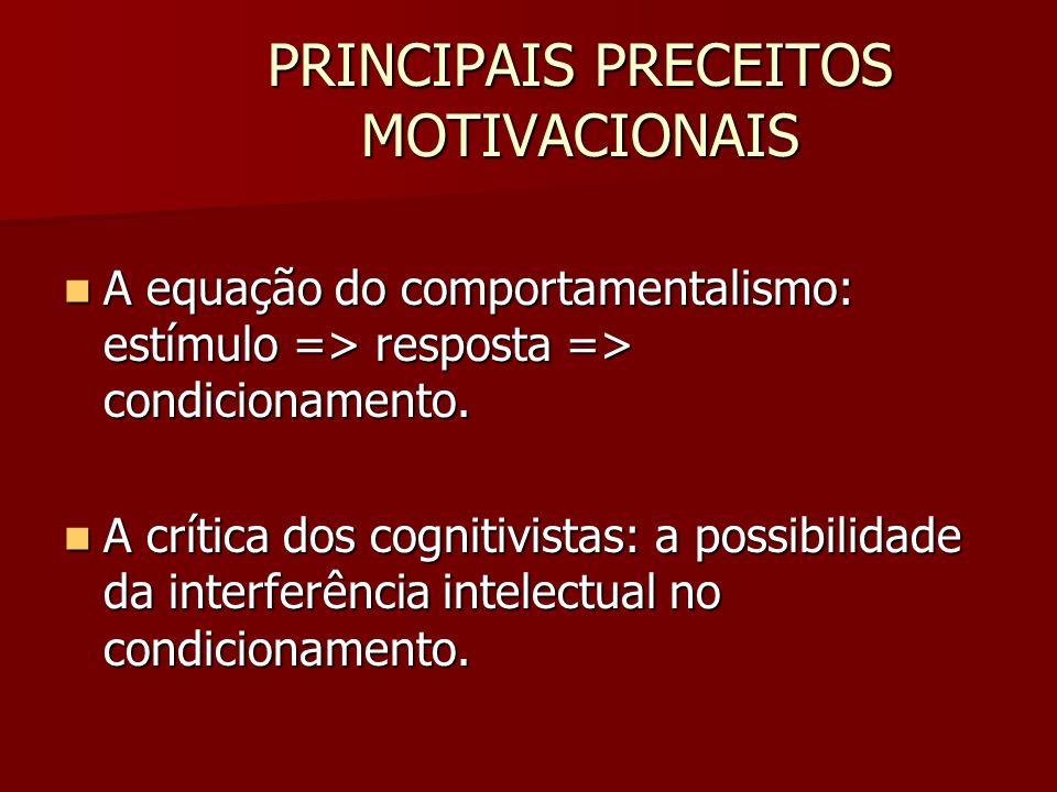 PRINCIPAIS PRECEITOS MOTIVACIONAIS A equação do comportamentalismo: estímulo => resposta => condicionamento. A equação do comportamentalismo: estímulo