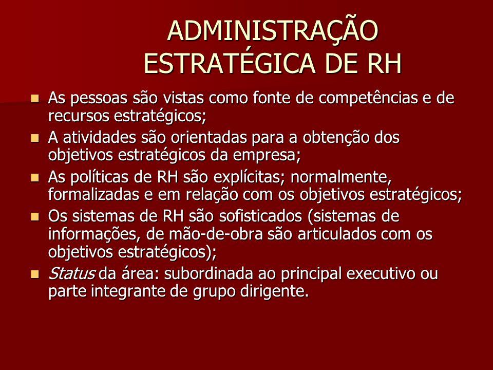 ADMINISTRAÇÃO ESTRATÉGICA DE RH As pessoas são vistas como fonte de competências e de recursos estratégicos; As pessoas são vistas como fonte de compe