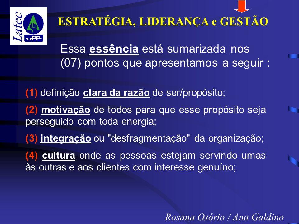 ESTRATÉGIA, LIDERANÇA e GESTÃO Rosana Osório / Ana Galdino Essa essência está sumarizada nos (07) pontos que apresentamos a seguir : (1) definição clara da razão de ser/propósito; (2) motivação de todos para que esse propósito seja perseguido com toda energia; (3) integração ou desfragmentação da organização; (4) cultura onde as pessoas estejam servindo umas às outras e aos clientes com interesse genuíno;
