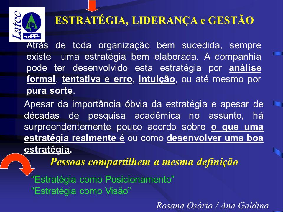 ESTRATÉGIA, LIDERANÇA e GESTÃO Rosana Osório / Ana Galdino Atrás de toda organização bem sucedida, sempre existe uma estratégia bem elaborada.