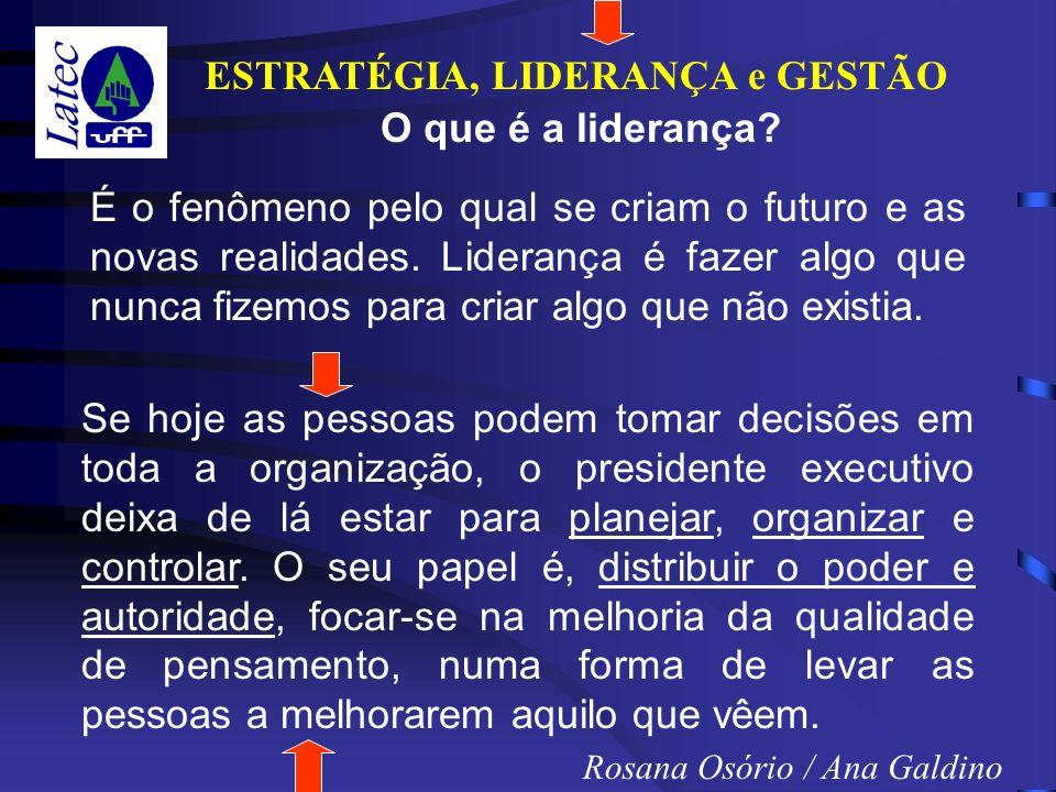 ESTRATÉGIA, LIDERANÇA e GESTÃO Rosana Osório / Ana Galdino É o fenômeno pelo qual se criam o futuro e as novas realidades.