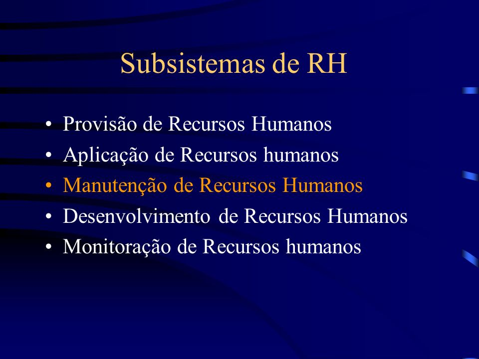 Subsistemas de RH Provisão de Recursos Humanos Aplicação de Recursos humanos Manutenção de Recursos Humanos Desenvolvimento de Recursos Humanos Monitoração de Recursos humanos