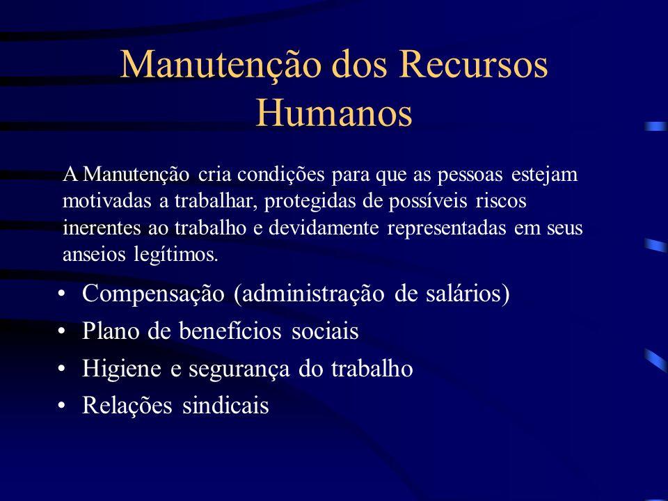 Subsistemas de RH Provisão de Recursos Humanos Aplicação de Recursos humanos Manutenção de Recursos Humanos Desenvolvimento de Recursos Humanos Monito