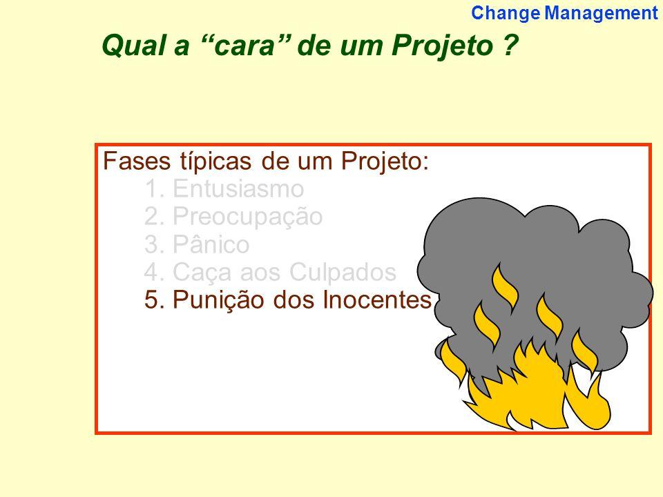 11 Change Management Fases típicas de um Projeto: 1. Entusiasmo 2. Preocupação 3. Pânico 4. Caça aos Culpados 5. Punição dos Inocentes Qual a cara de