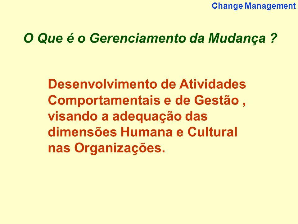 2 Change Management O Que é o Gerenciamento da Mudança ? Desenvolvimento de Atividades Comportamentais e de Gestão, visando a adequação das dimensões