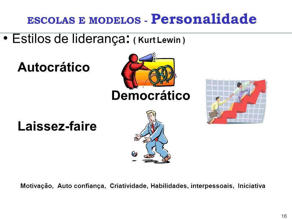 16 Estilos de liderança : ( Kurt Lewin ) Autocrático Democrático Laissez-faire Motivação, Auto confiança, Criatividade, Habilidades, interpessoais, In