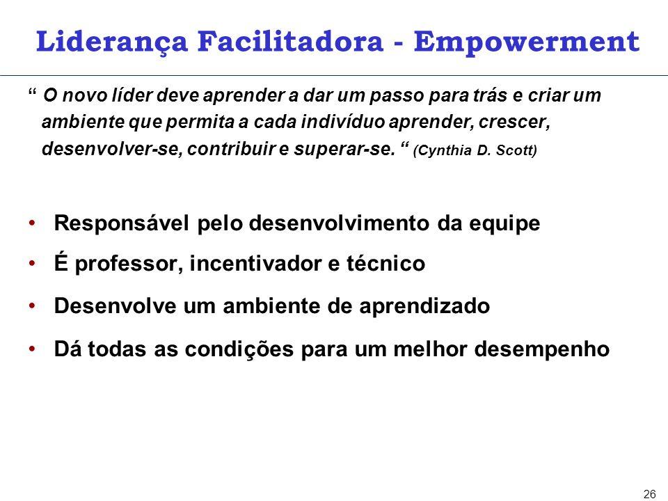 26 Liderança Facilitadora - Empowerment O novo líder deve aprender a dar um passo para trás e criar um ambiente que permita a cada indivíduo aprender,