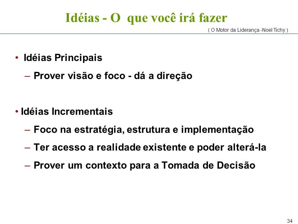 34 Idéias - O que você irá fazer Idéias Principais –Prover visão e foco - dá a direção Idéias Incrementais –Foco na estratégia, estrutura e implementa