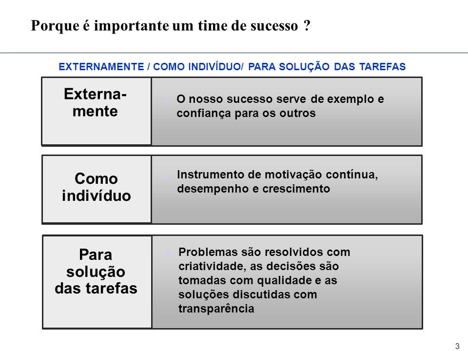 3 EXTERNAMENTE / COMO INDIVÍDUO/ PARA SOLUÇÃO DAS TAREFAS Porque é importante um time de sucesso ? Como indivíduo n Instrumento de motivação contínua,