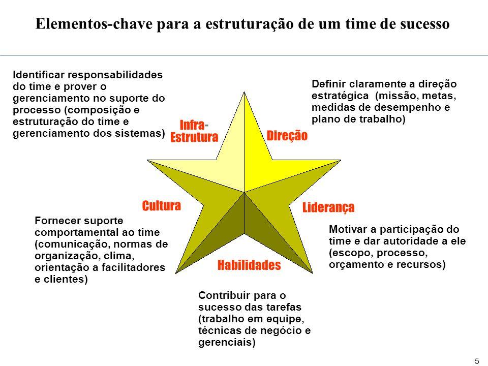 5 Elementos-chave para a estruturação de um time de sucesso Direção Liderança Habilidades Cultura Definir claramente a direção estratégica (missão, me