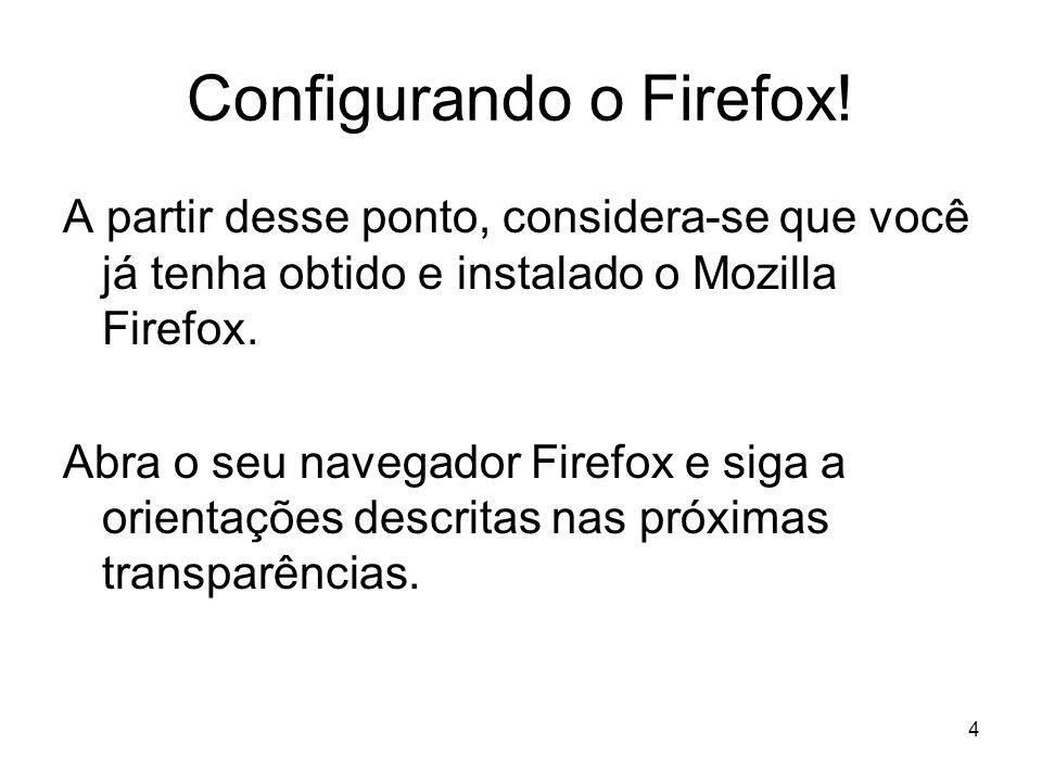 4 Configurando o Firefox! A partir desse ponto, considera-se que você já tenha obtido e instalado o Mozilla Firefox. Abra o seu navegador Firefox e si