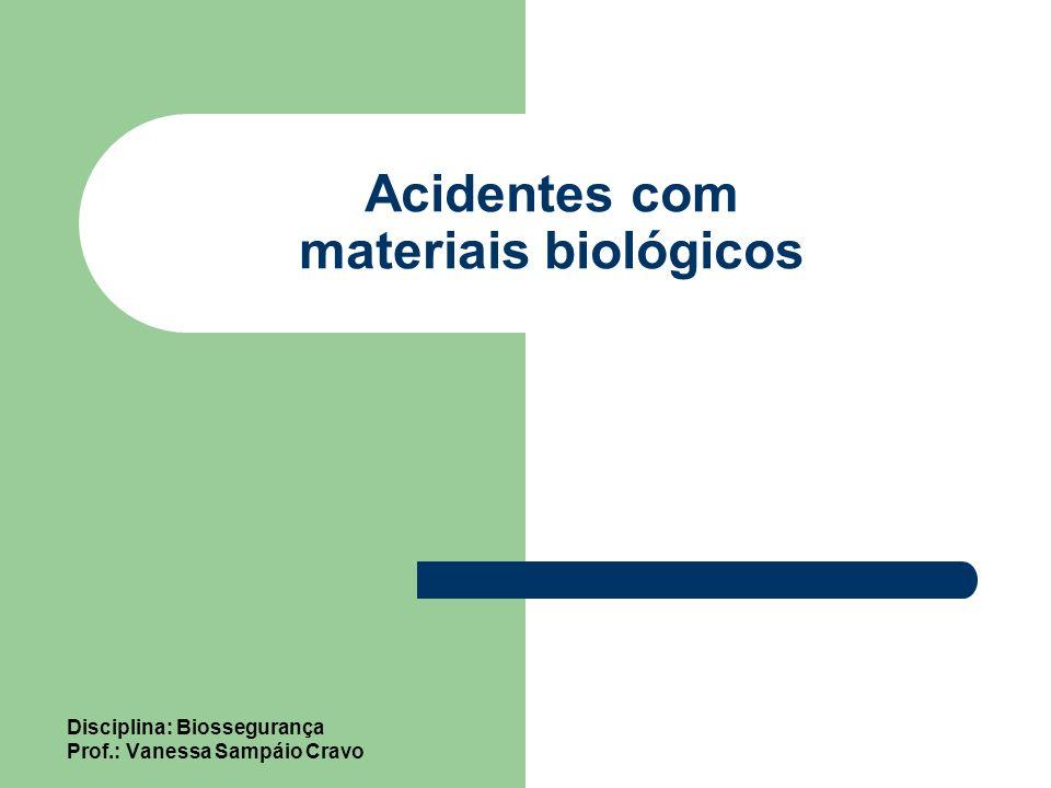 Acidentes com materiais biológicos Disciplina: Biossegurança Prof.: Vanessa Sampáio Cravo