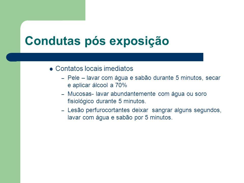 Condutas pós exposição Contatos locais imediatos – Pele – lavar com água e sabão durante 5 minutos, secar e aplicar álcool a 70% – Mucosas- lavar abun