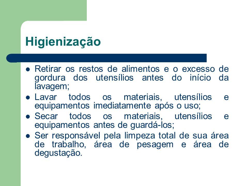 Higienização Retirar os restos de alimentos e o excesso de gordura dos utensílios antes do início da lavagem; Lavar todos os materiais, utensílios e e