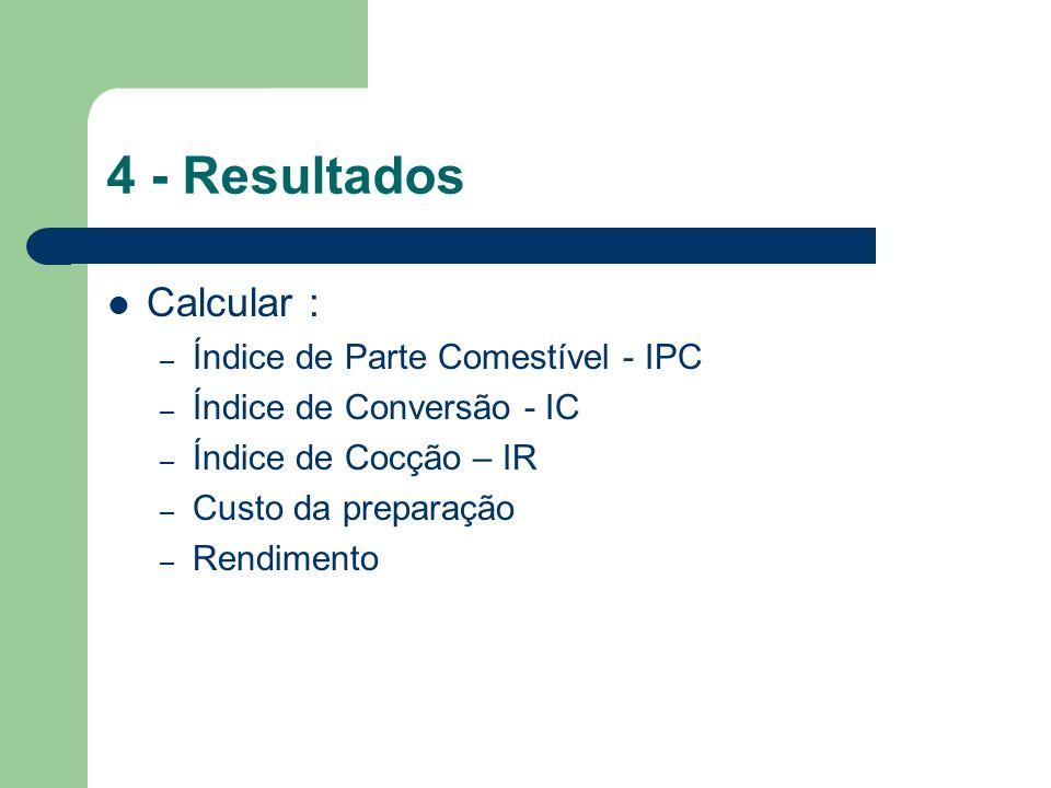 4 - Resultados Calcular : – Índice de Parte Comestível - IPC – Índice de Conversão - IC – Índice de Cocção – IR – Custo da preparação – Rendimento