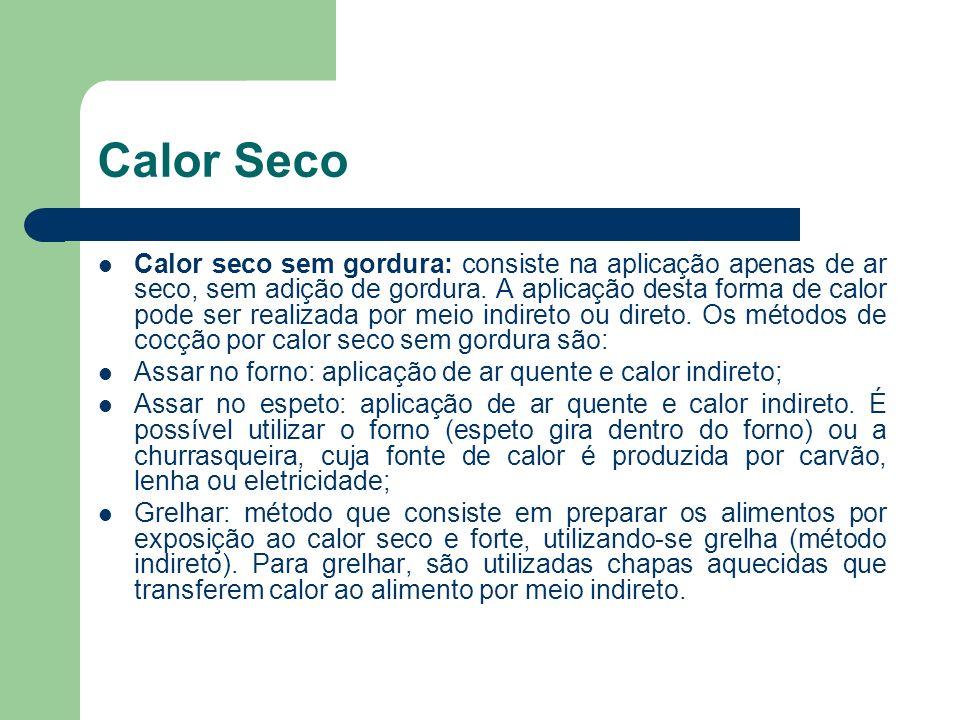 Calor Seco Calor seco sem gordura: consiste na aplicação apenas de ar seco, sem adição de gordura. A aplicação desta forma de calor pode ser realizada