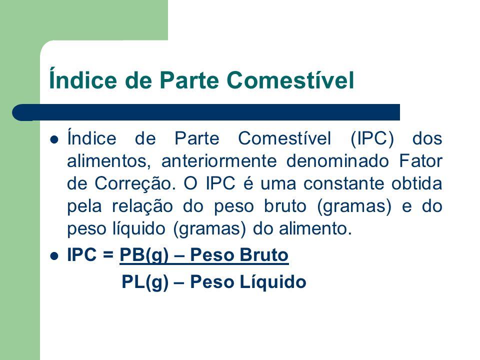 Índice de Parte Comestível Índice de Parte Comestível (IPC) dos alimentos, anteriormente denominado Fator de Correção. O IPC é uma constante obtida pe