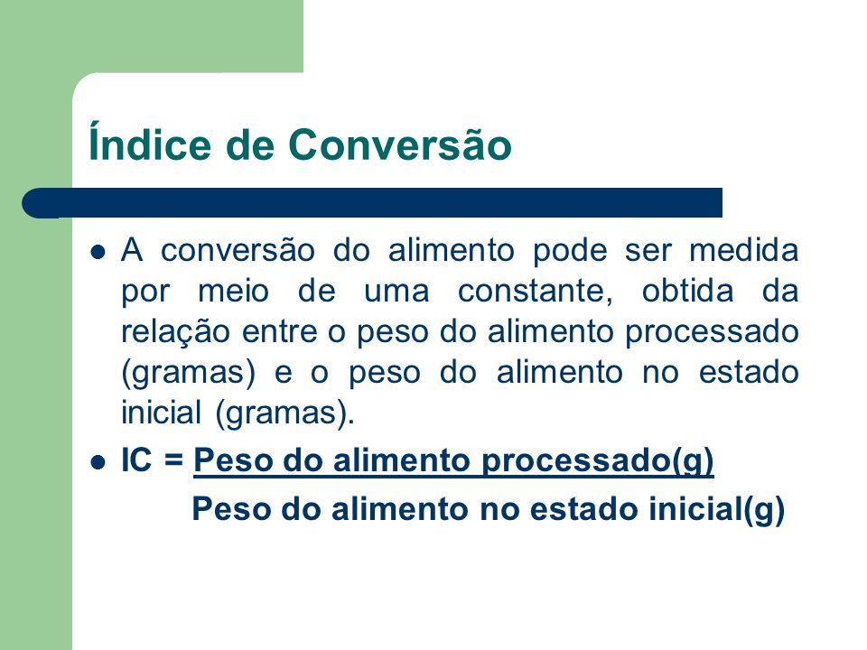 Índice de Conversão A conversão do alimento pode ser medida por meio de uma constante, obtida da relação entre o peso do alimento processado (gramas)
