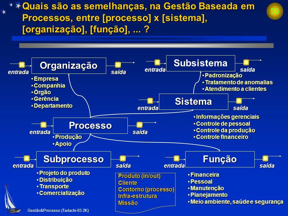 Gestão&Processo (Tadachi-03.2K) 52Organização Exemplos: Empresa. Divisão, departamento e seção de uma organização. Exemplos: Empresa. Divisão, departa
