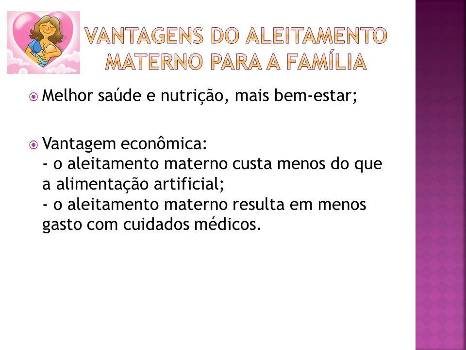 Melhor saúde e nutrição, mais bem-estar; Vantagem econômica: - o aleitamento materno custa menos do que a alimentação artificial; - o aleitamento mate
