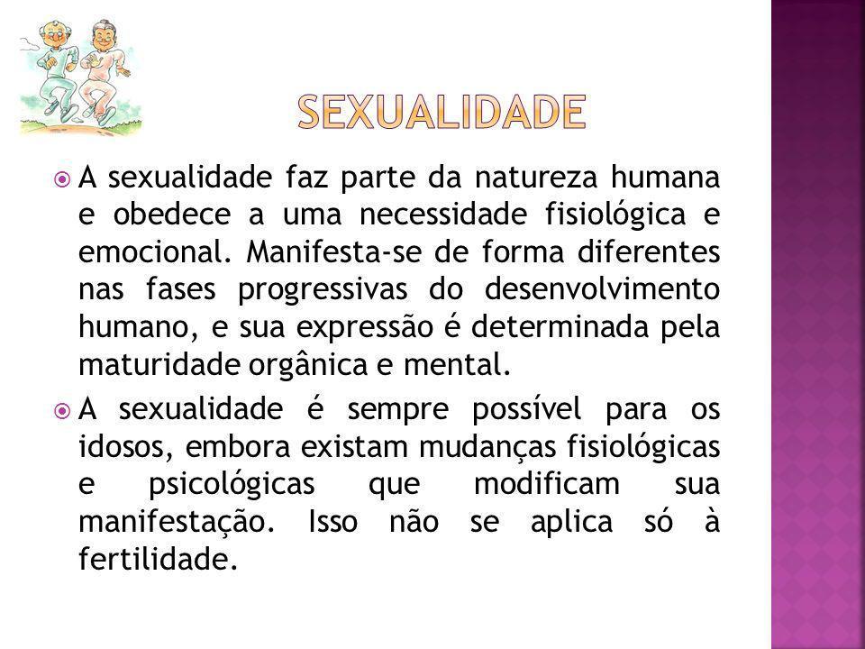 A sexualidade faz parte da natureza humana e obedece a uma necessidade fisiológica e emocional. Manifesta-se de forma diferentes nas fases progressiva