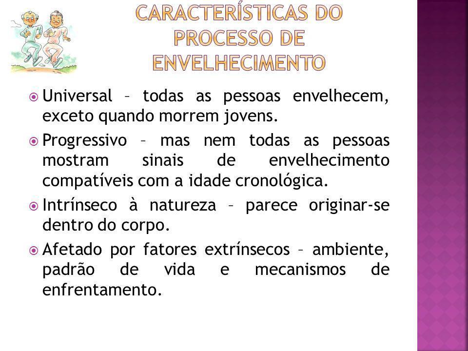 A sociedade diante do envelhecimento No início do século XX – expectativa de vida – 35 anos Atualmente Países desenvolvidos – Homem - 74 anos Mulher – 82 anos Brasil – Homem – 64 anos Mulher – 72 anos