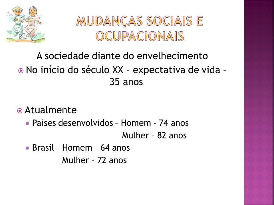 A sociedade diante do envelhecimento No início do século XX – expectativa de vida – 35 anos Atualmente Países desenvolvidos – Homem - 74 anos Mulher –
