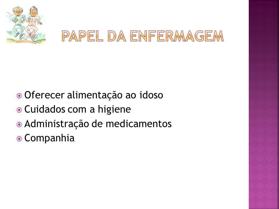Oferecer alimentação ao idoso Cuidados com a higiene Administração de medicamentos Companhia