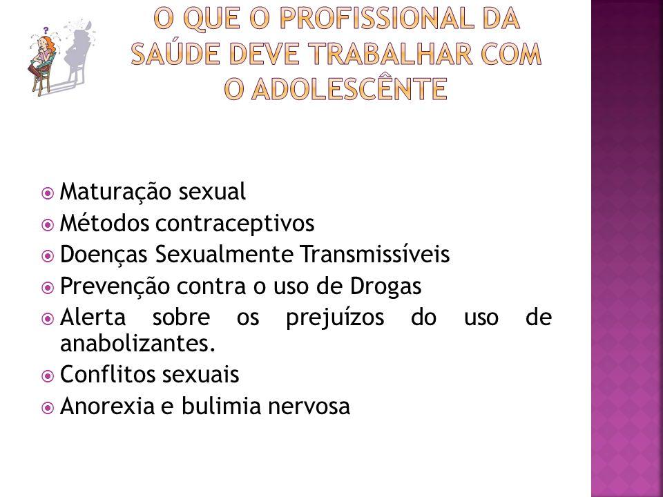 Maturação sexual Métodos contraceptivos Doenças Sexualmente Transmissíveis Prevenção contra o uso de Drogas Alerta sobre os prejuízos do uso de anabol