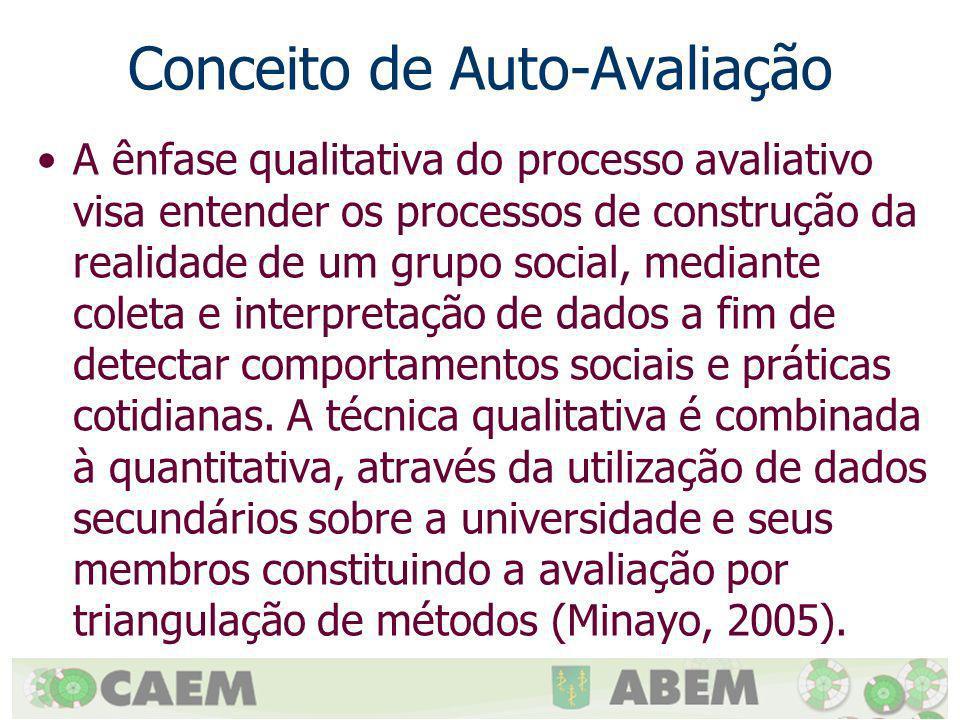 Conceito de Auto-Avaliação A ênfase qualitativa do processo avaliativo visa entender os processos de construção da realidade de um grupo social, media