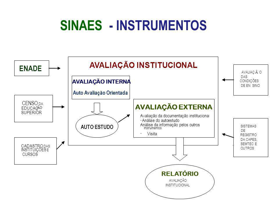 SINAES - INSTRUMENTOS AVALIAÇÃO INSTITUCIONAL AVALIAÇÃO EXTERNA - Avaliação da documentação instituciona l - Análise do auto - estudo - Análise da inf