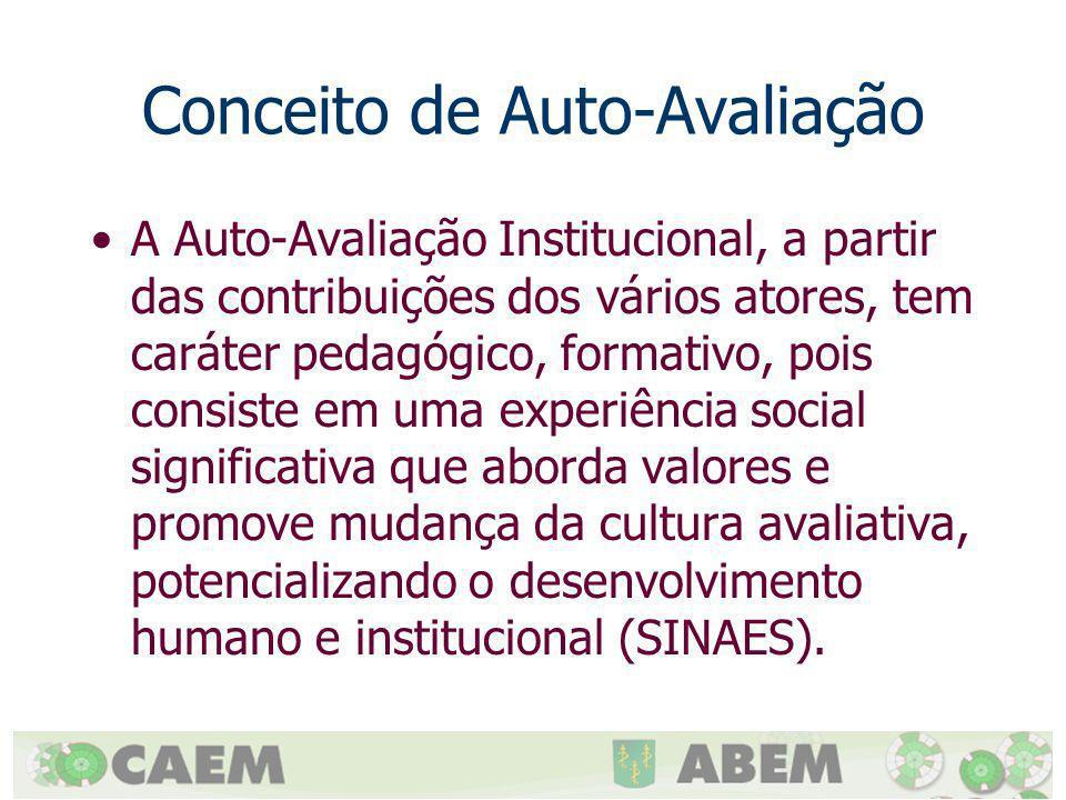 Conceito de Auto-Avaliação A Auto-Avaliação Institucional, a partir das contribuições dos vários atores, tem caráter pedagógico, formativo, pois consi