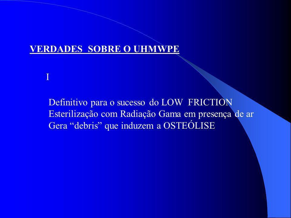 VERDADES SOBRE O UHMWPE Definitivo para o sucesso do LOW FRICTION Esterilização com Radiação Gama em presença de ar Gera debris que induzem a OSTEÓLIS