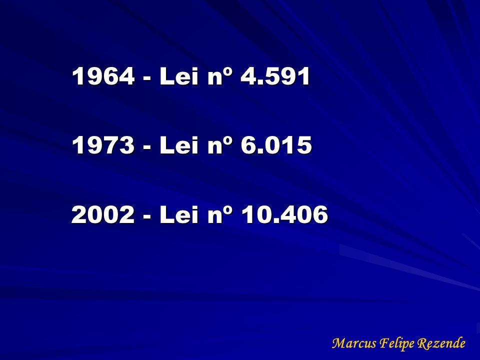 1964 - Lei nº 4.591 1973 - Lei nº 6.015 2002 - Lei nº 10.406 Marcus Felipe Rezende
