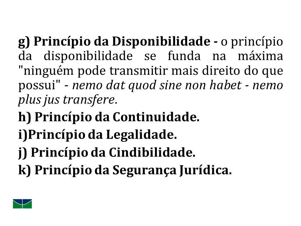 g) Princípio da Disponibilidade - o princípio da disponibilidade se funda na máxima ninguém pode transmitir mais direito do que possui - nemo dat quod sine non habet - nemo plus jus transfere.