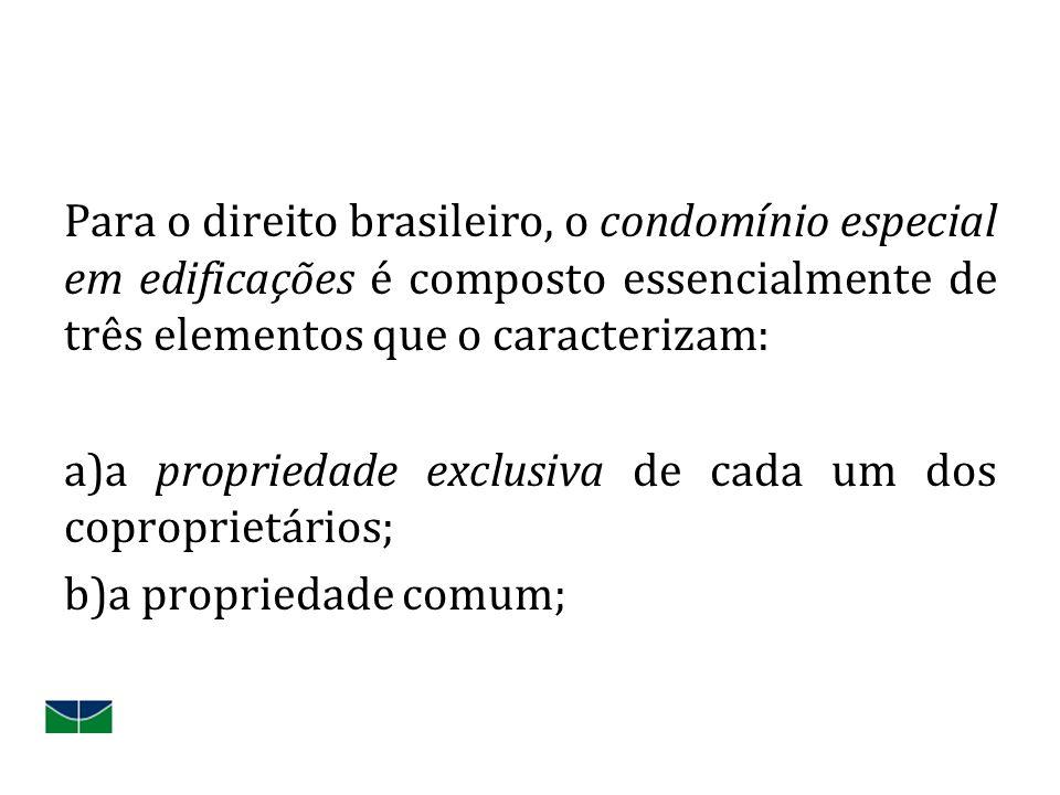 Para o direito brasileiro, o condomínio especial em edificações é composto essencialmente de três elementos que o caracterizam: a)a propriedade exclusiva de cada um dos coproprietários; b)a propriedade comum;
