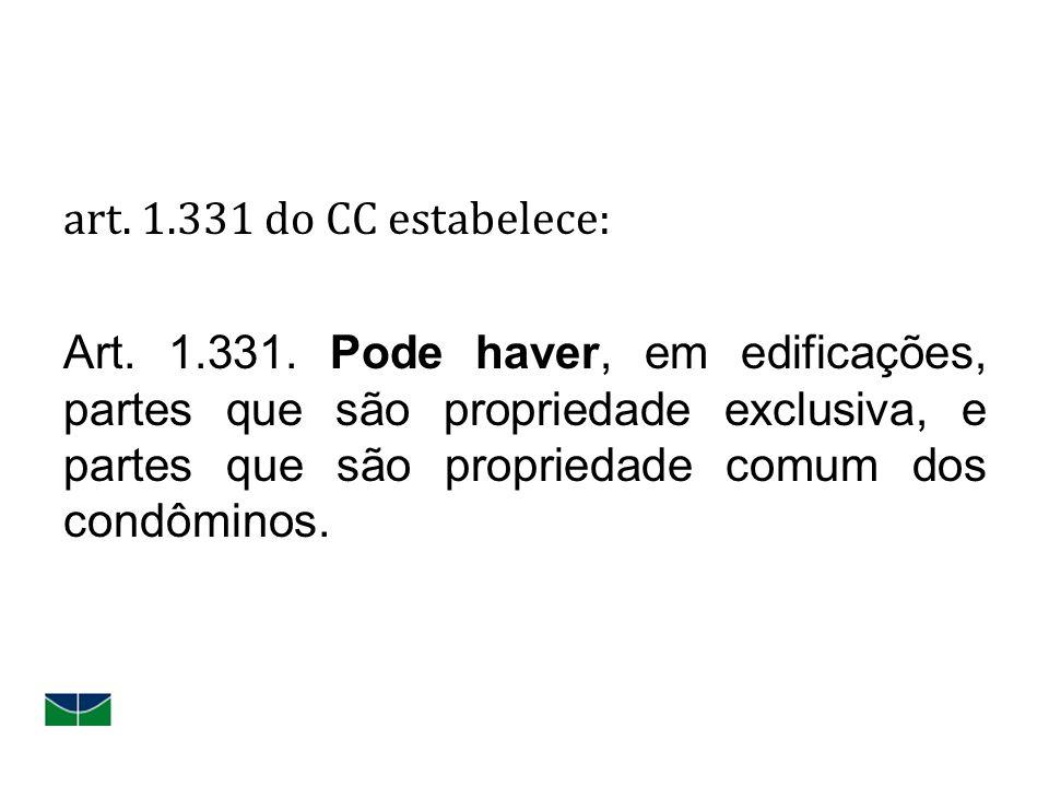 art. 1.331 do CC estabelece: Art. 1.331. Pode haver, em edificações, partes que são propriedade exclusiva, e partes que são propriedade comum dos cond
